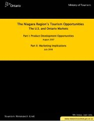 The Niagara Region's Tourism Opportunities - Ministry of Tourism