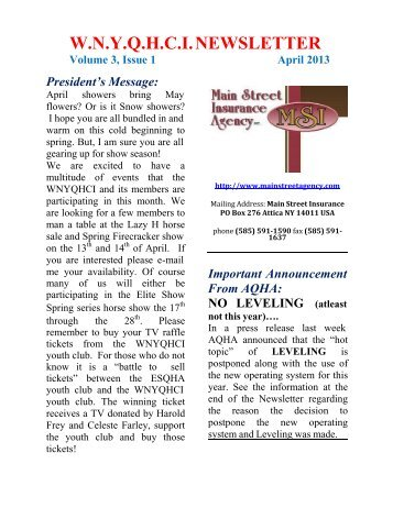 April 2013 Newsletter - Western New York Quarter Horse Club