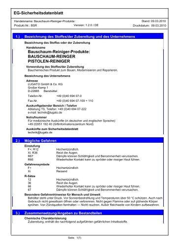 EG-Sicherheitsdatenblatt Bauschaum-Reiniger-Produkte ... - Lugato