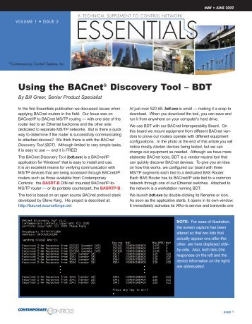 Using the BACnet® Discovery Tool - Contemporary Controls