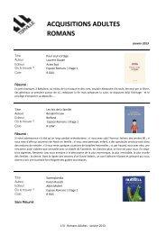 Nouveautés Romans Adultes Janvier 2013.pdf - TERVILLE