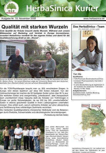 Ausgabe Nr. 33, November 2008 - HerbaSinica Hilsdorf GmbH
