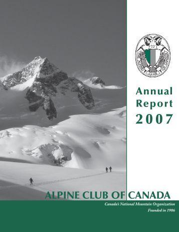 Annual Report 2007.indd - The Alpine Club of Canada