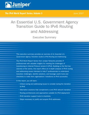 An Essential U.S. Government Agency Transition ... - Juniper Networks