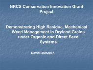 Demonstrating High Residue, Mechanical Weed Management in ...