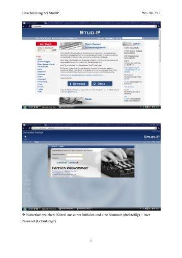 Einschreibung bei StudIP WS 2012/13 1 → Nutzerkennzeichen  ...