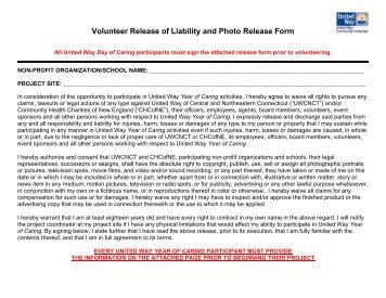 Release of Liability and Photo Release Form