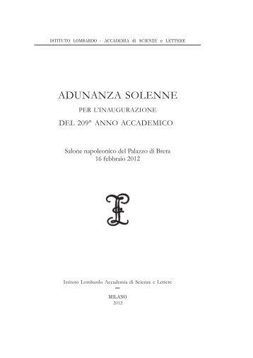 Adunanza solenne 2012 - Istituto Lombardo Accademia di Scienze ...