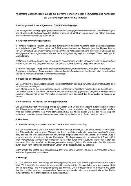 Allgemeine Geschäftsbedingungen für die Vermietung von ... - Leitern