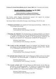 Strafrechtliches Seminar im SS 2003 - Prof. Dr. Bernd Heinrich