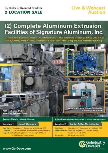 (2) Complete Aluminum Extrusion Facilities of Signature Aluminum ...