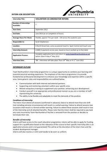 INTERN JOB DESCRIPTION VOLUNTEER CO ...   Sport Central