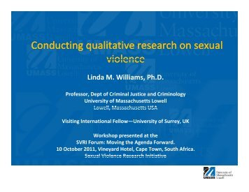 Conducting qualitative research on sexual violence Conducting ...