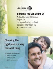 Anthem Blue Cross PPO Directory - Regions 1-4 - My Benefit Choices