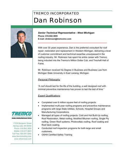 Dan Robinson Profile - Tremco Roofing