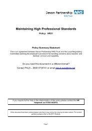 Maintaining High Professional Standards - Devon Partnership NHS ...