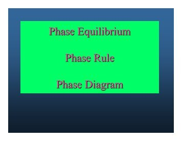 Phase Equilibrium Phase Rule Phase Diagram