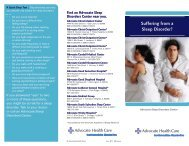 Suffering from a Sleep Disorder? - Advocate Health Care