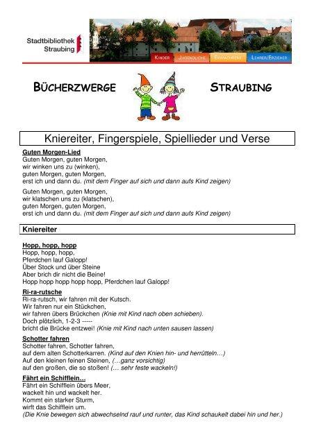Kniereiter Fingerspiele Spiellieder Und Verse