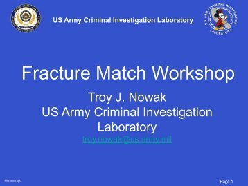 Fracture Match Workshop - Projects at NFSTC.org