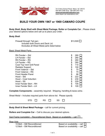 BUILD YOUR OWN 1967 or 1969 CAMARO COUPE