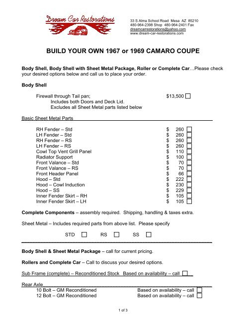 Build Your Own Camaro >> Build Your Own 1967 Or 1969 Camaro Coupe