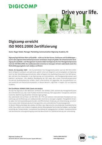 Digicomp erreicht ISO 9001:2000 Zertifizierung