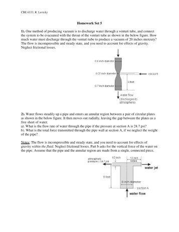 Homework Set 5 1). One method of producing vacuum is to ...