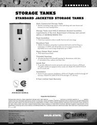 STORAGE TANKS - State Water Heaters
