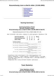 Braunschweig Lions vs Berlin Adler (23.08.2009 ... - NewYorker Lions