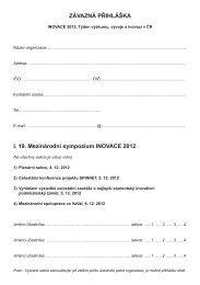ZÁVAZNÁ PŘIHLÁŠKA I. 19. Mezinárodní sympozium ... - AIP ČR