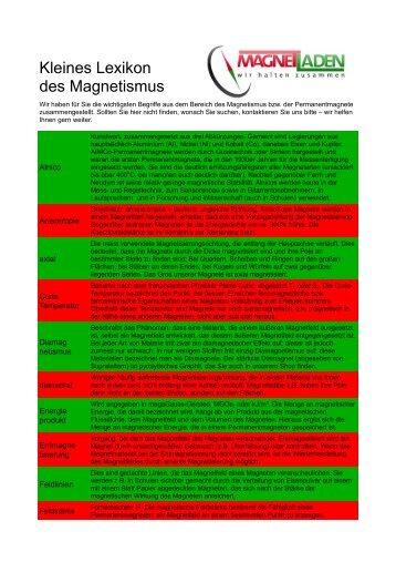 Kleines Lexikon des Magnetismus - Magnetladen