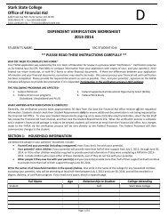 Dependent Verification Worksheet - Stark State College