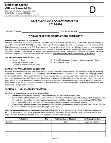dependent verification worksheet stark state college - Dependent Verification Worksheet