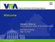 Chad Wirz, VITA - the Virginia Information Technologies Agency