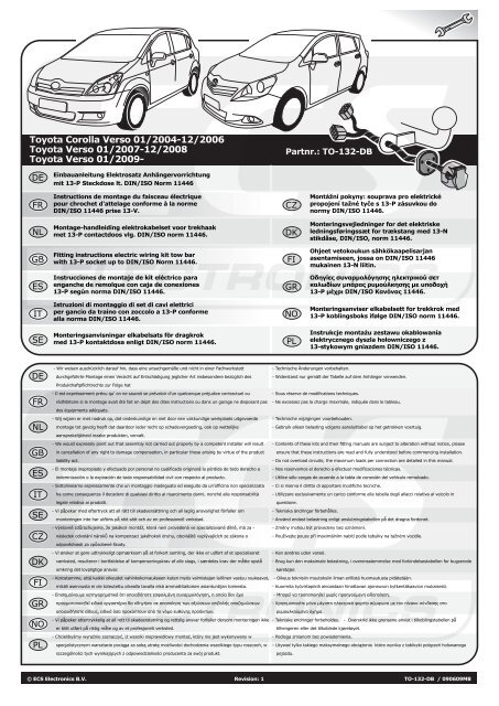 ATTELAGE TOYOTA AVENSIS VERSO de 2004 à 2006