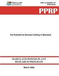 The Potential for Biomass Cofiring in Maryland - Versar, Inc., ESM ...