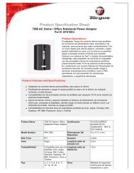 Product Specification Sheet - Notebook
