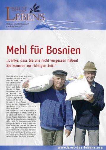 Mehl für Bosnien - bei Brot des Lebens