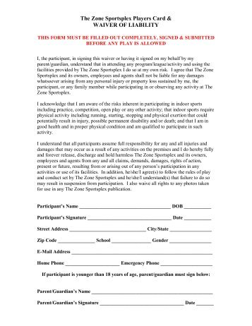 The Zone Sportsplex Players Card & WAIVER OF LIABILITY