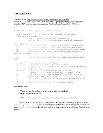 Tutorial tRNAscan-SE e RNAmmer - Coccidia.icb.usp.br
