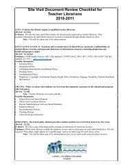 Site Visit Document Review Checklist for Teacher Librarians 2010 ...