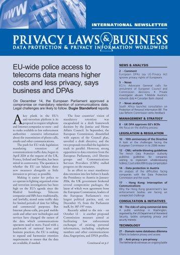 web version International NL 80 - Nov.qxp - Privacy Laws & Business