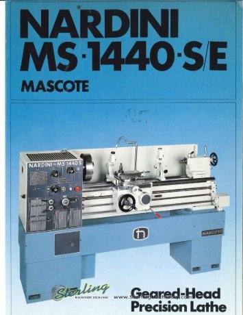 Nardini MS1440SE Mascote Lathe Brochure - Sterling Machinery