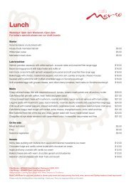Cafe Morso Pyrmont Lunch Menu and Wine List - Out4dinner