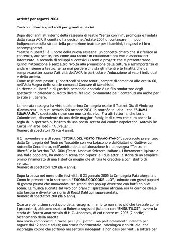 Attività per ragazzi 2004 Teatro in libertà spettacoli per grandi e ...