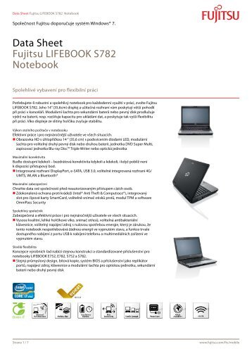 Data Sheet Fujitsu LIFEBOOK S782 Notebook - eD' system Czech, as