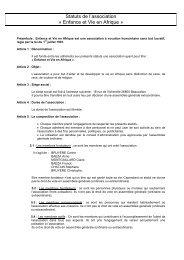 Statuts de l'association « Enfance et Vie en Afrique »