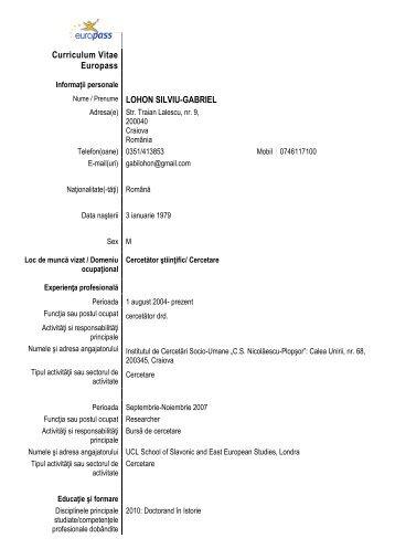 Curriculum Vitae Europass Nume / Prenume LOHON SILVIU ...