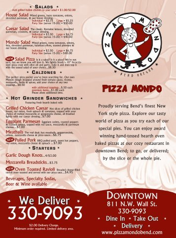 Add grilled Italian chicken to your salad • $1.00 - Pizza Mondo